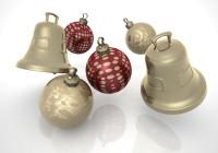 Weihnachtsglöckchen und Weihnachtskugeln