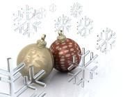 Weihnachtskugeln und Eiskristalle