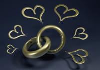 Herzchen und Eheringe